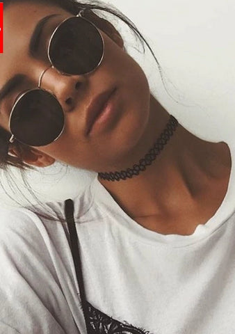 Vintage Oval Gold Trim Sunglasses - BoujichickFashions