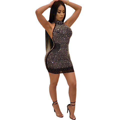 Bling Out Shiny Sequin Halter Top Mini Dress - BoujichickFashions
