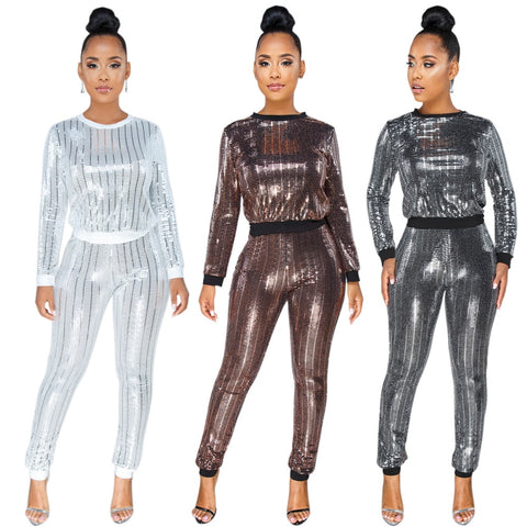 2 Piece Sequin Stylish Sweat Suit - BoujichickFashions