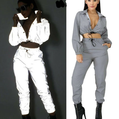 Reflective Zipper Accented Jumpsuit - BoujichickFashions