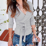Deep V Neck Vintage Wrap Blouse - BoujichickFashions