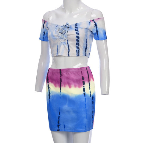 Off The Shoulder Tye Dye 2 Piece Mini Skirt - BoujichickFashions