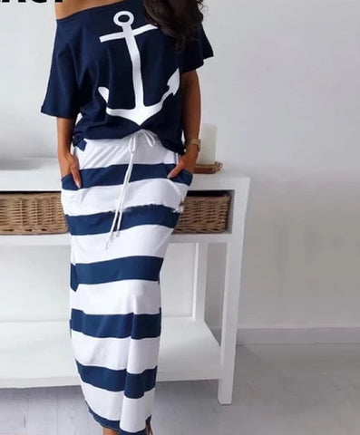 Off the Shoulder Anchor Print Blouse & Striped Skirt Sets - BoujichickFashions