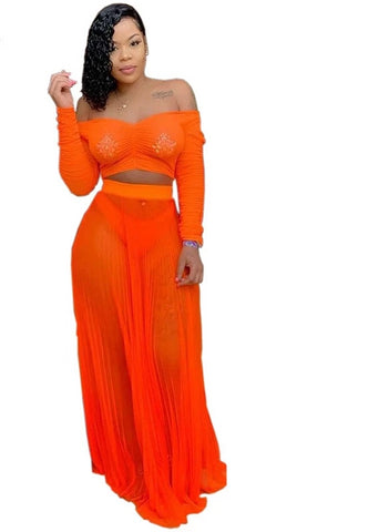 Off The Shoulder Long Sleeve Crop Top With Matching Long Shear Skirt - BoujichickFashions