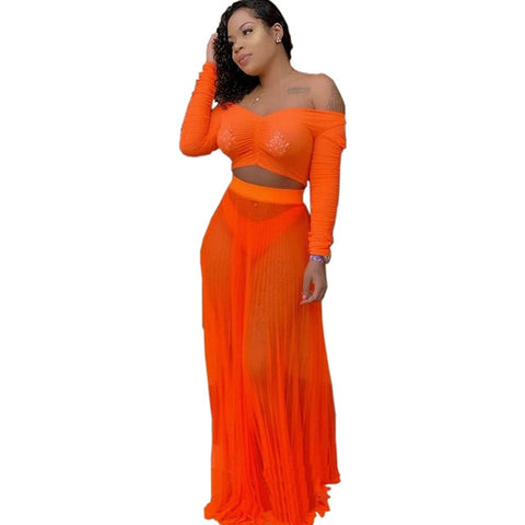Slash Neck Long Sleeve Crop Top With Matching Long Skirt - BoujichickFashions