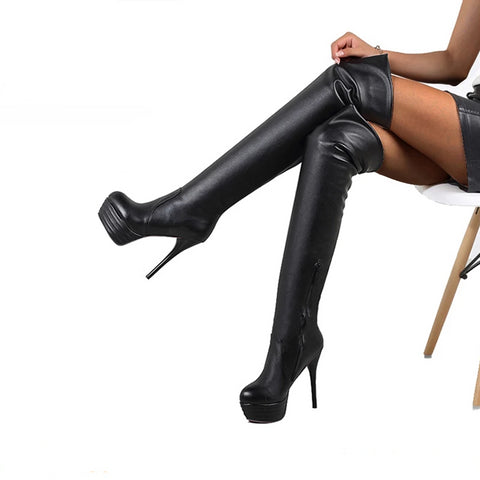 Platform Over The Knee Thigh High Boots - BoujichickFashions