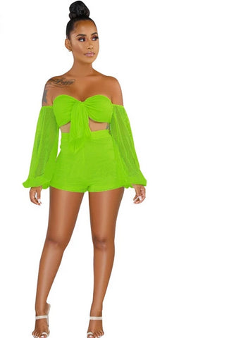 Mesh Styled 2 Piece Crop Top With Matching Shorts - BoujichickFashions