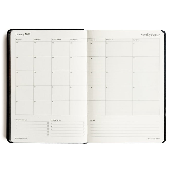 MI GOALS- 2018 Minimal diary-weekly A5 hardcover-BLACK