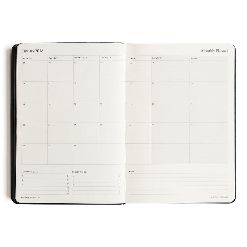 MI GOALS- 2018 Minimal diary-weekly A5 softcover-BLACK