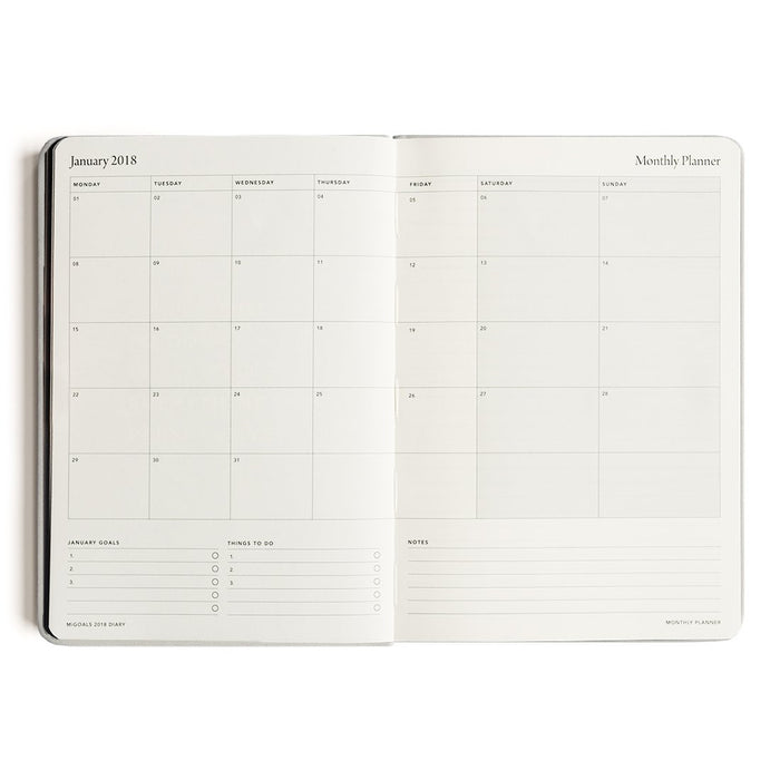 MI GOALS- 2018 Minimal diary-weekly A5 softcover-GREY