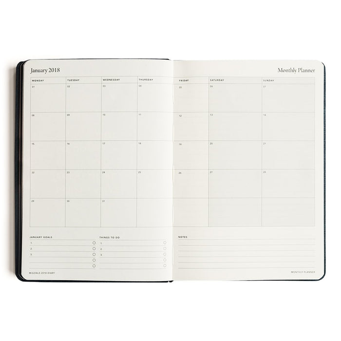 MI GOALS- 2018 Minimal diary-weekly A5 softcover-NAVY