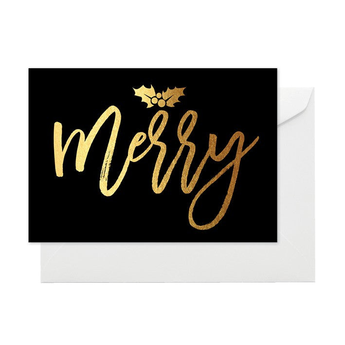 ELM PAPER- MERRY BLACK & GOLD CARD