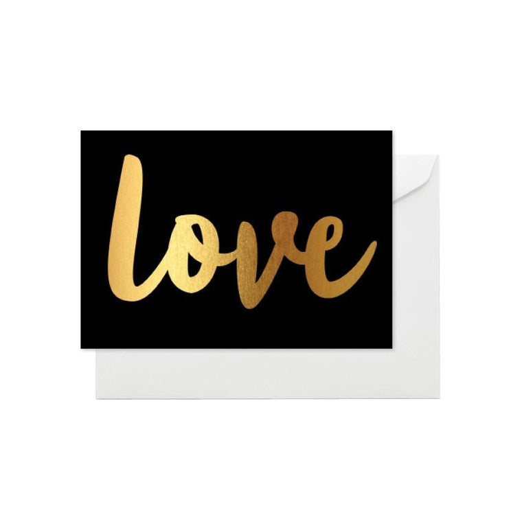 ELM PAPER-Gold Love on black card