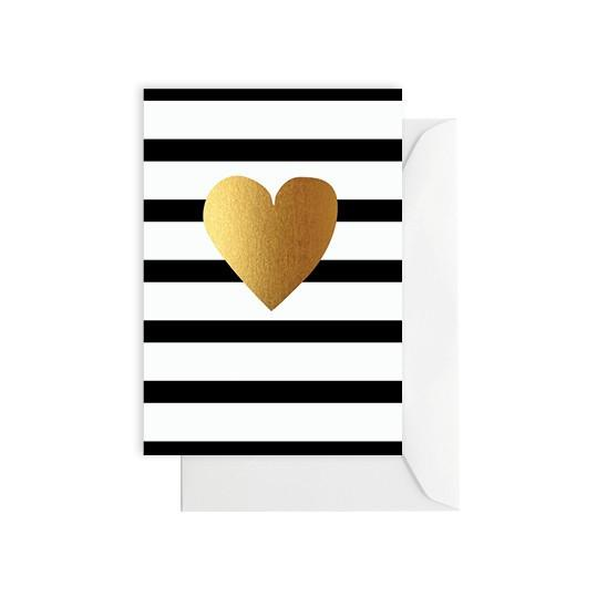 ELM PAPER-Heart gold/Black and white stripe card