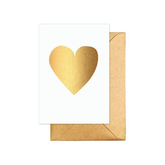 ELM PAPER-gold heart card