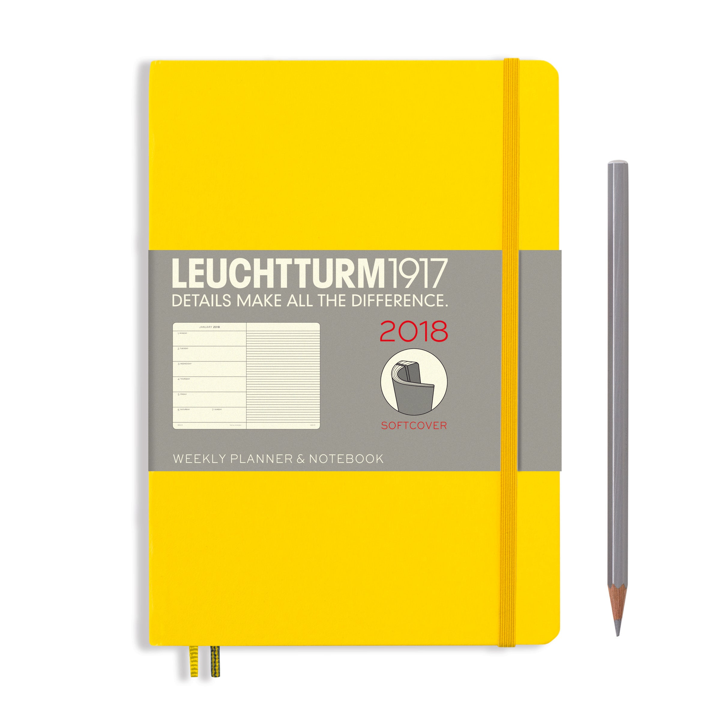 LEUCHTTURM1917-A5 Softcover weekly notebook-Lemon 2018