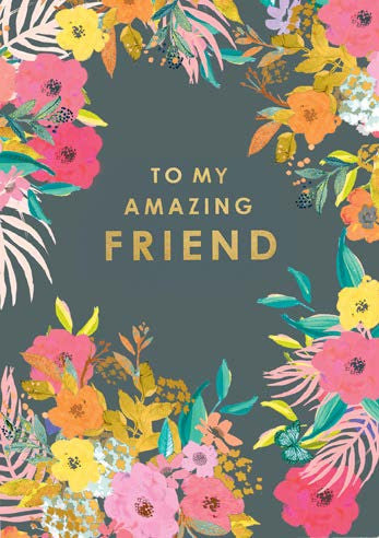LOUISE TILER-card-Gold florals Friend