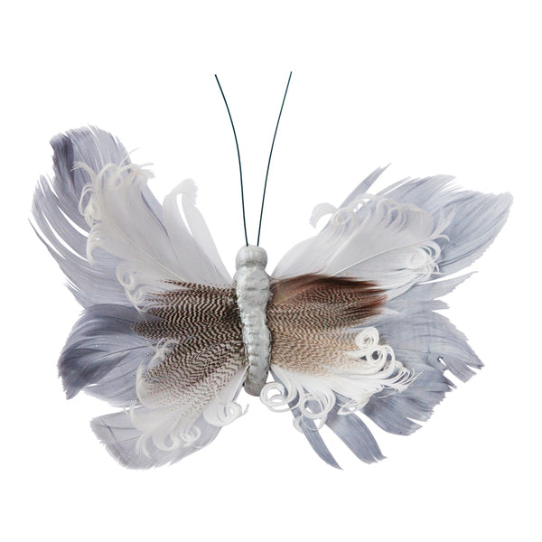 DOWN TO THE WOODS Feather Butterfly Natural Grey curl Decoration