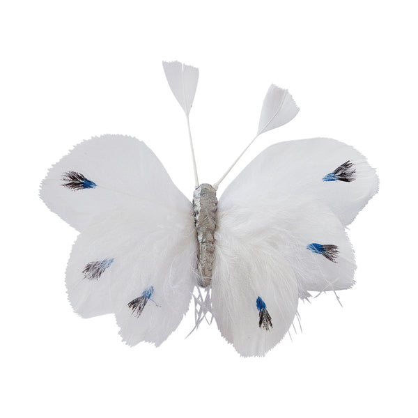 DOWN TO THE WOODS Feather Butterfly Natural White Heart Decoration