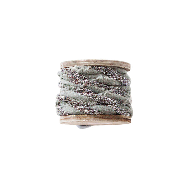 DOWN TO THE WOODS twisted metallic ribbon spool Moss and silver