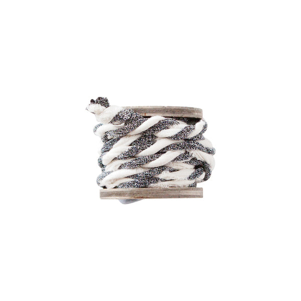 DOWN TO THE WOODS twisted metallic ribbon spool white and silver
