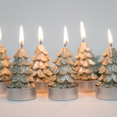 Mediterranean Markets-Candle - Tree Tealight set of (6) Champagne