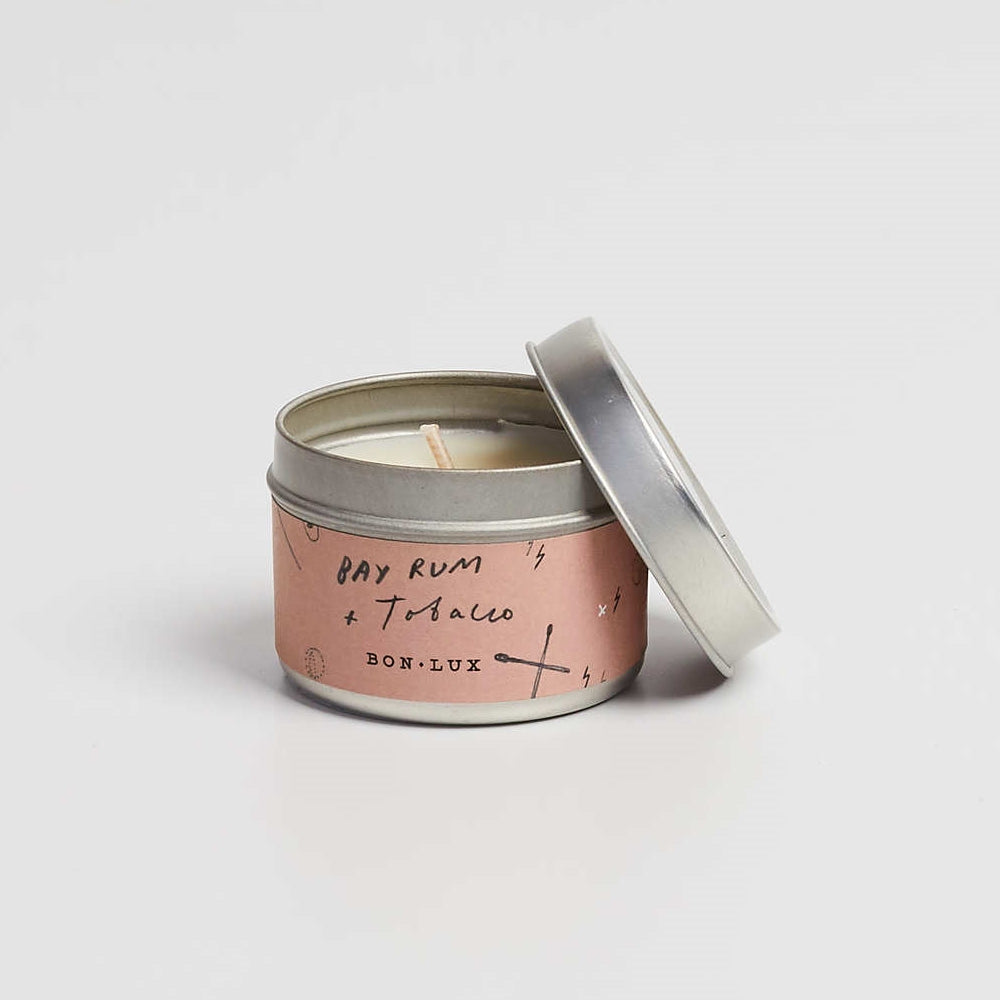 BON LUX-Bay rum + Tobacco Travel tin candle