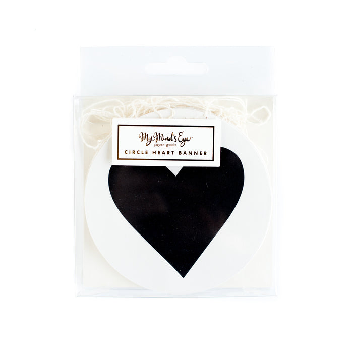 My Minds Eye Paper Goods BLACK & WHITE CIRCLE HEART BANNER