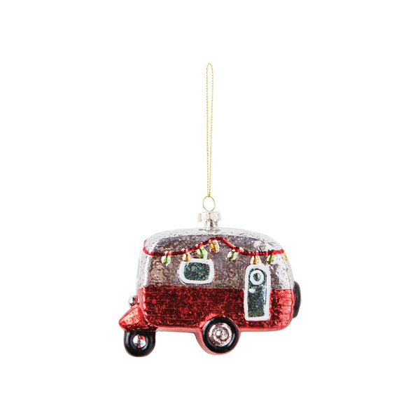 DOWN TO THE WOODS Glitter Christmas Caravan Decoration