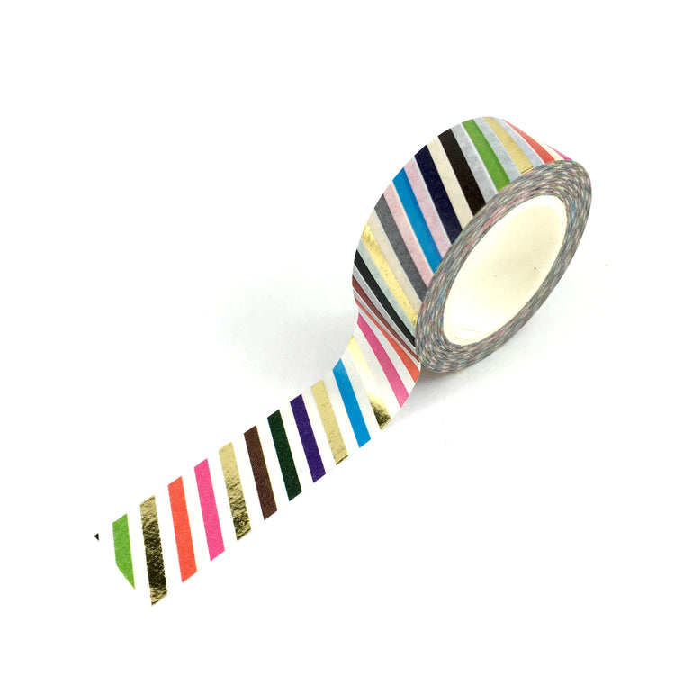 Washi Tape- Coloured stripe with FOIL