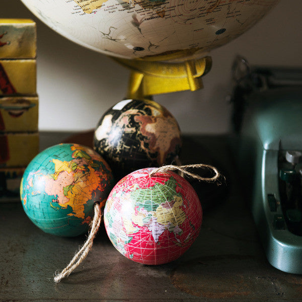 DOWN TO THE WOODS World Globe decoration-Red