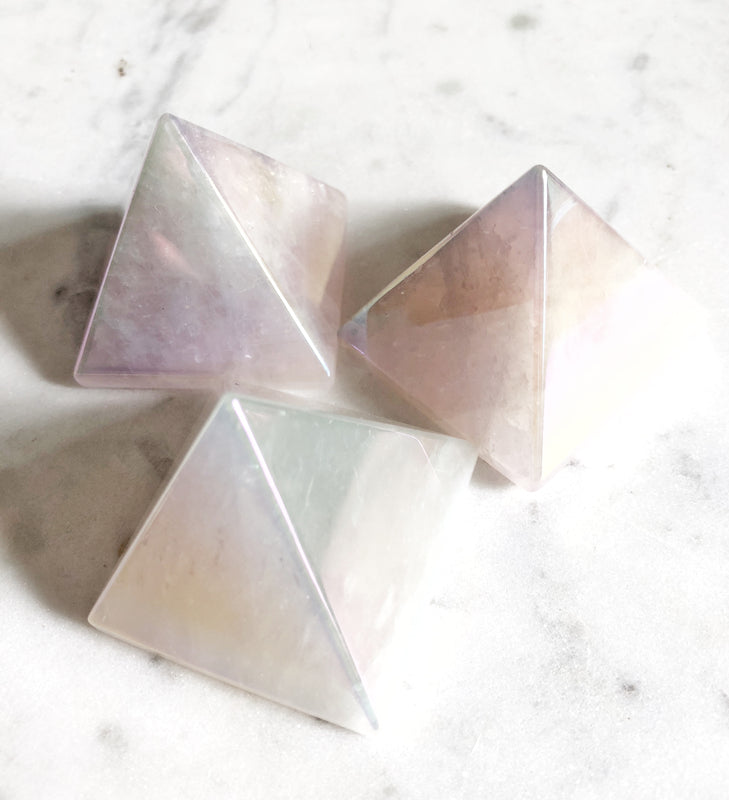 LITTLE PAPER LANE Crystals- Rose Aura Quartz  Pyramid $34