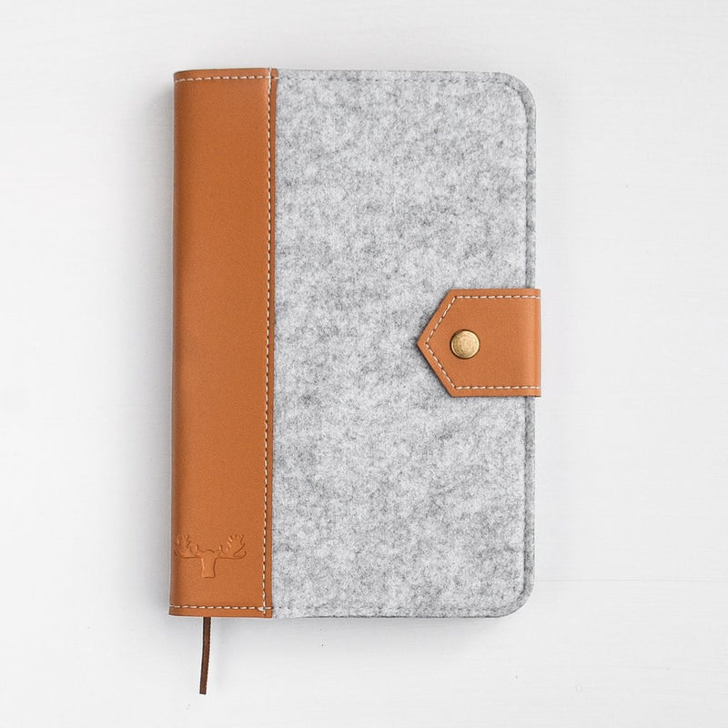 White Moose Felt and Leather Journal- Grey/Tan Leather