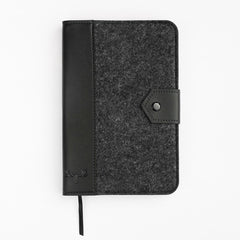 White Moose Felt and Leather Journal- Ash/Black Leather