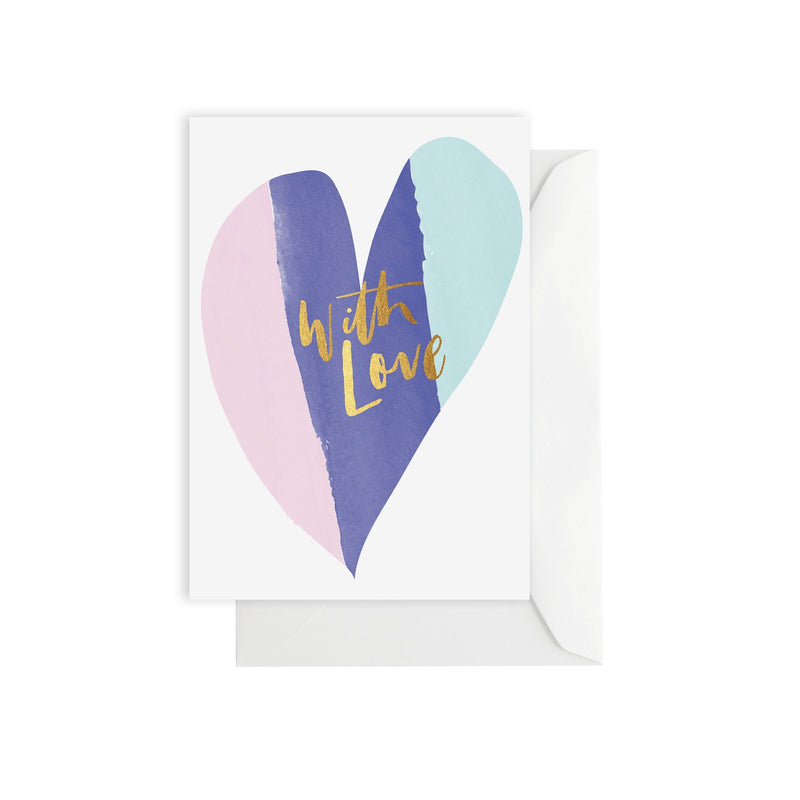 ELM PAPER-Watercolour with love heart card