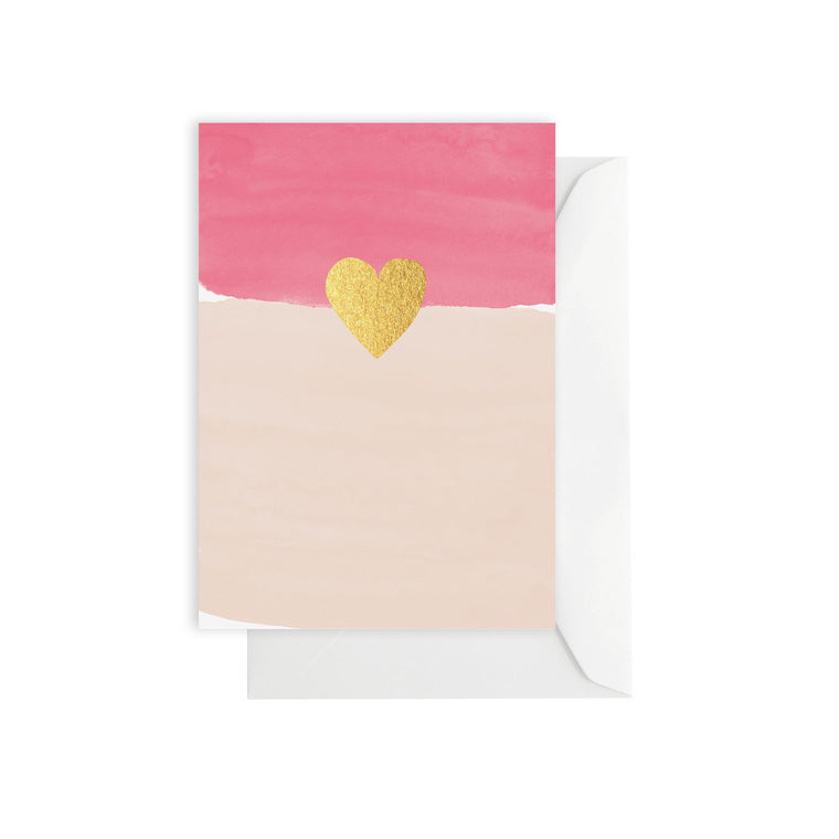 ELM PAPER-Watercolour Pink Heart card