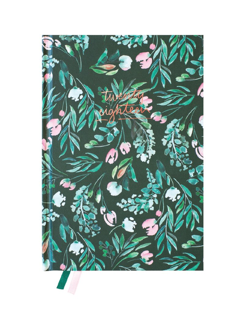 BLUSHING CONFETTI- 2018 Green floral Hardcover Agenda