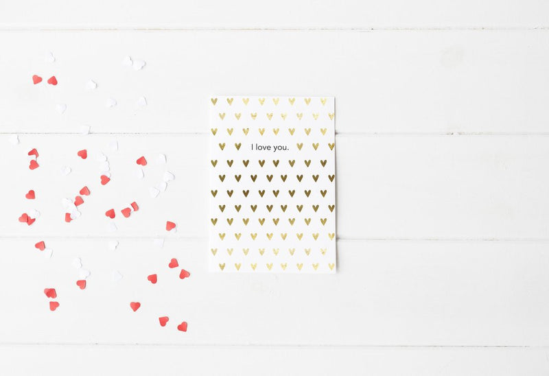 PENNEDBLACK Greeting Card - I love You Gold/Black Foil