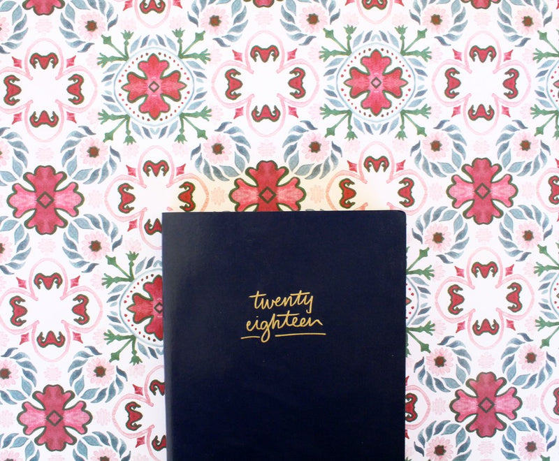 BLUSHING CONFETTI- 2018 Navy leather/green floral Agenda