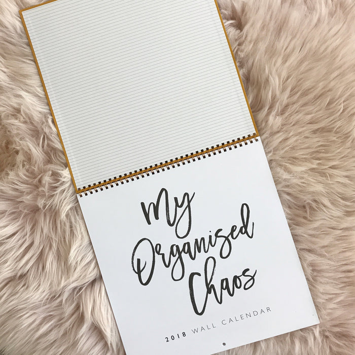 WRITE TO ME 2018 Linen Wall calendar Mustard
