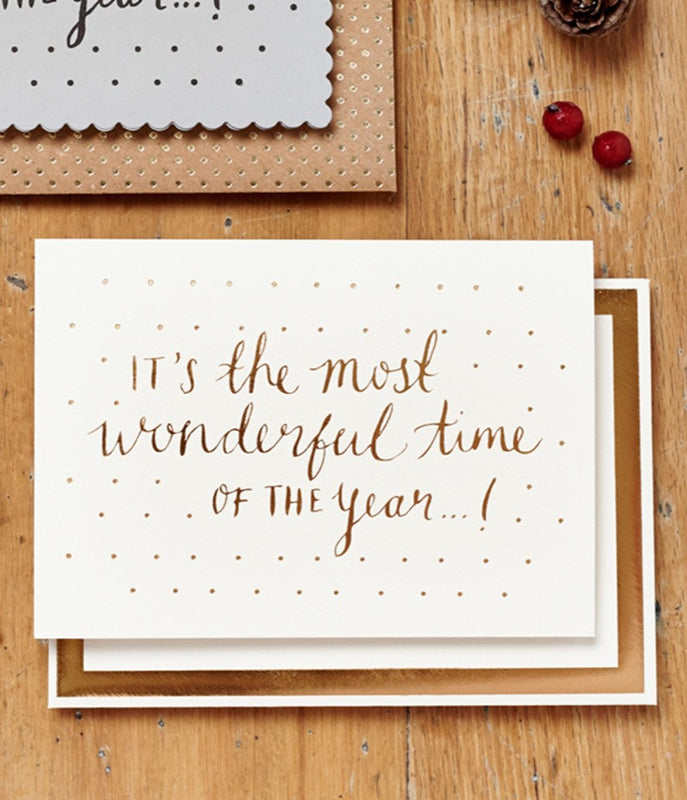 KATIE LEAMON Most wonderful time-gold foil card