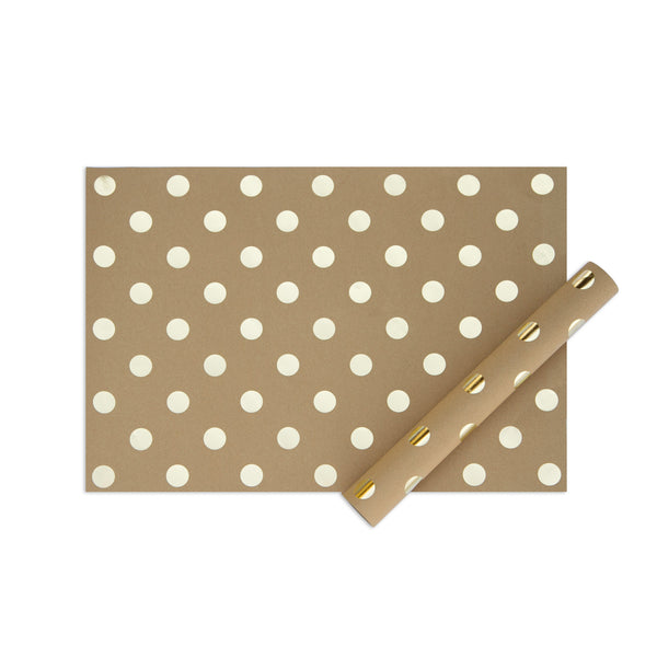 My minds eye paper goods SHEET OF WRAP-kraft with gold dots