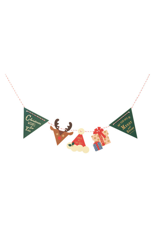 MARK'S INC. Single card- Bunting-Reindeer