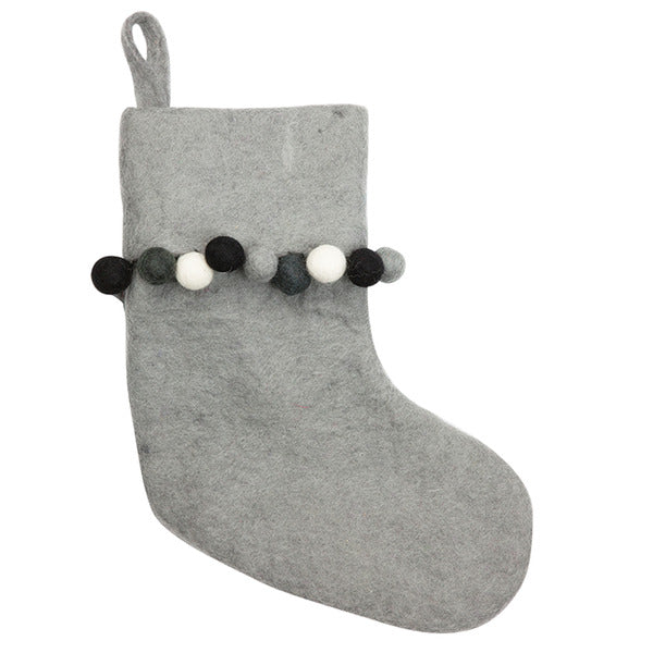 DOWN TO THE WOODS  Grey with mono edging felt stocking