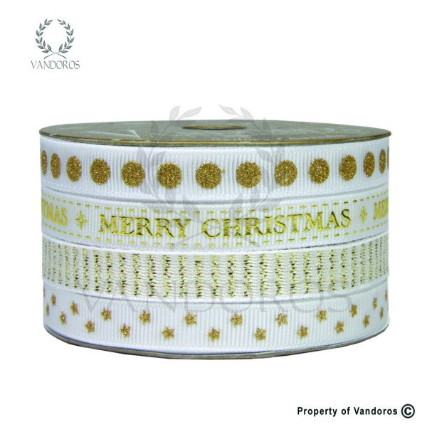 Christmas Multi reel Gold/white Ribbon