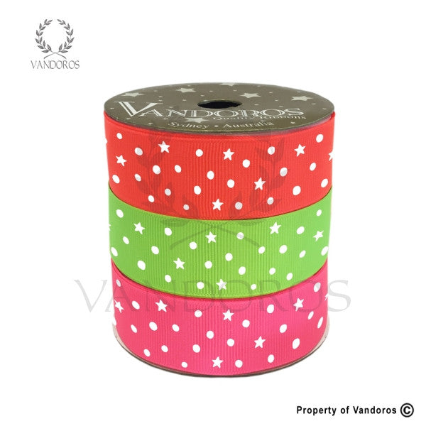 VANDOROS Grosgrain Starry night Neon Multi reel ribbon pack