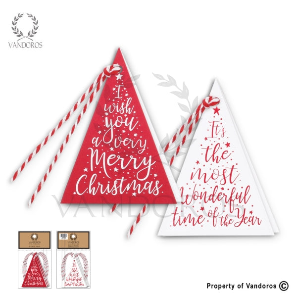 VANDOROS Gift Tags Triangular Red/white