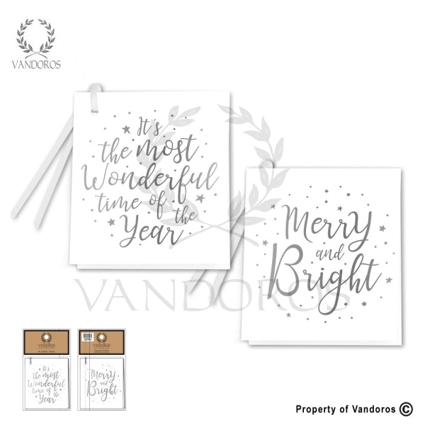VANDOROS Gift Tags Silver/white set of 4