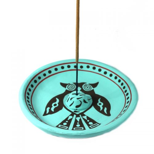 Incense Burner round plate Clay 13cm-Owl
