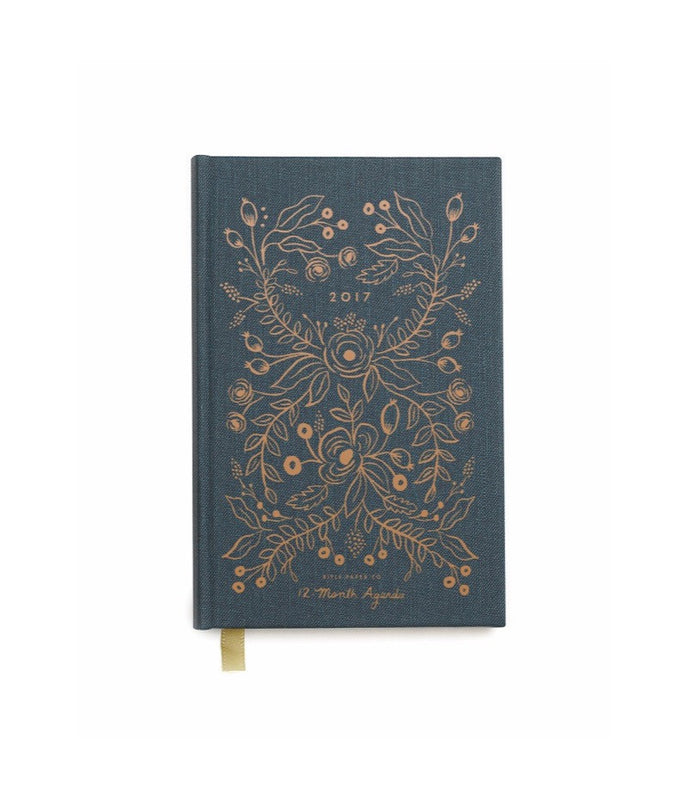 RIFLE PAPER CO. 2017 Hard Cover Planner-Midnight